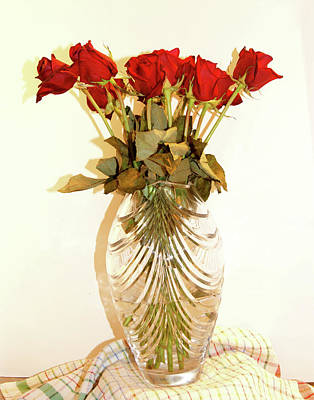 Photograph - Crystal And Red Roses by Margie Avellino