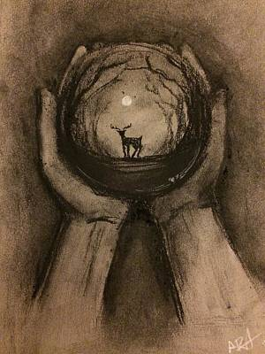 Drawing - Crystal Ball Deer by Sunshine Ammerman
