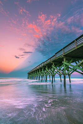 Photograph - Crystal Beach Pier Sunset In North Carolina by Ranjay Mitra