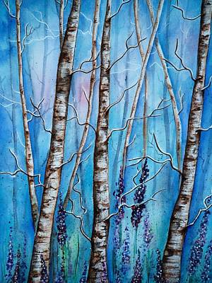 Painting - Crystal Blue Forest by Krystyna Spink