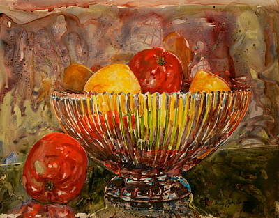 Crystal Bowl Of Fruit Original by Shirley Sykes Bracken