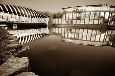 Photograph - Crystal Bridges Art Museum Reflections - Sepia Edition by Gregory Ballos