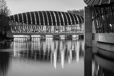 Photograph - Crystal Bridges Museum Reflections Black And White - Bentonville Arkansas by Gregory Ballos