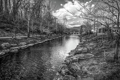 Walmart Photograph - Crystal Bridges Museum River Trail  - Bentonville Arkansas Bw by Gregory Ballos