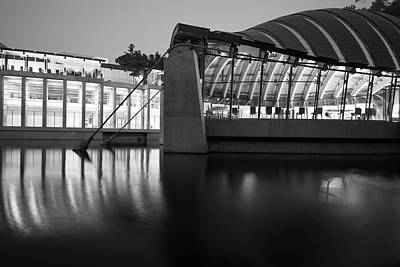 Photograph - Crystal Bridges Reflections Black And White - Northwest Arkansas by Gregory Ballos