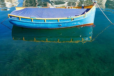 Crystal Clear Mediterranean Blue - Sea Boy At Anchor Art Print