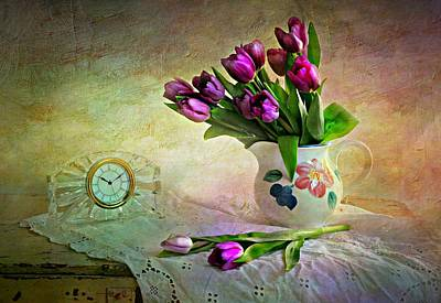 Crystal Clock With Tulips Art Print