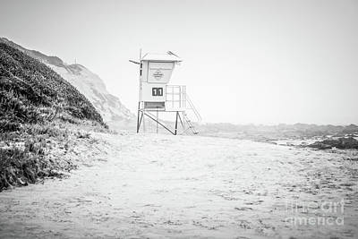 Eleven Photograph - Crystal Cove Lifeguard Tower #11 Black And White Picture by Paul Velgos