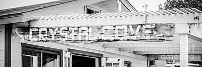 Alliance Photograph - Crystal Cove Sign Black And White Panorama by Paul Velgos