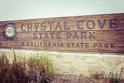Crystal Cove Photograph - Crystal Cove State Park Sign In Laguna Beach by Paul Velgos