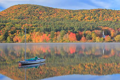 Photograph - Crystal Lake Autumn Morning by John Burk