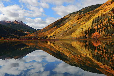 Art Print featuring the photograph Crystal Lake Autumn Reflection by Jetson Nguyen