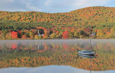 Photograph - Crystal Lake Eaton Fall Foliage And Sailboat by John Burk