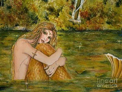 Fantasy Tree Art Painting - Crystal Lake Mermaid by Renee Lavoie