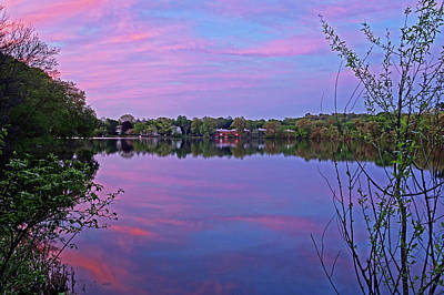 Photograph - Crystal Lake Sunset Newton Ma Bath House Red Sky by Toby McGuire