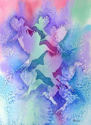 Abstract Hummingbird Painting - Crystal Migration by Marsha Elliott