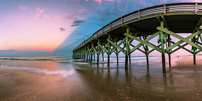 Photograph - Crystal Pier At Wilmington North Carolina With Rain Clouds At Sunset Panorama by Ranjay Mitra