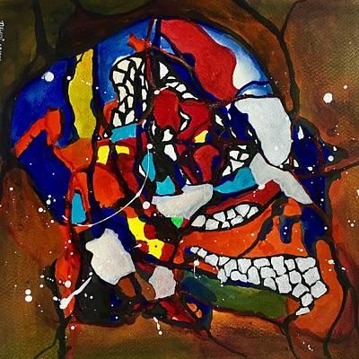 Yello Painting - Crystal Skull- Mosaic by Aarti Bartake