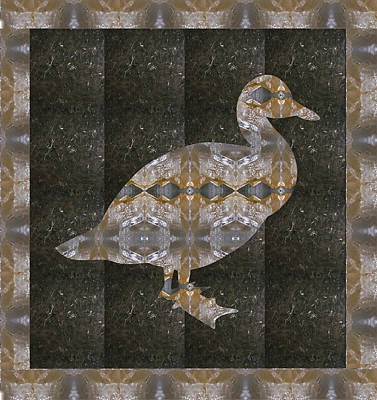 Mixed Media - Crystal Stone Duck N Border Bird by Navin Joshi