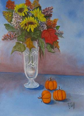 Crystal Vase Of Sunflowers Art Print