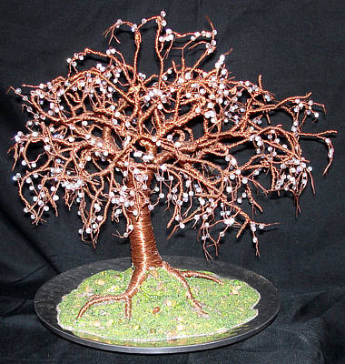 Sculpture - Crystal Willow - Wire Tree Sculpture by Sal Villano