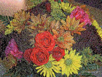 Digital Art - Crystallized Autumn Flower Arrangement -  by Merton Allen