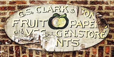 1950s Fashion Digital Art - C.s. Clark Vintage Sign by Hal Halli