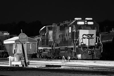 Photograph - Csx #6432 @ Night B W 1 by Joseph C Hinson Photography