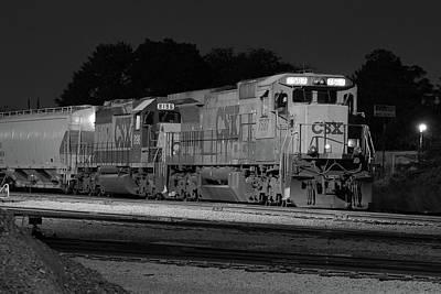 Photograph - Csx 7587 @ Night Bw by Joseph C Hinson Photography