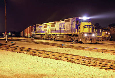 Photograph - Csx #7596 @ Night 10 by Joseph C Hinson Photography