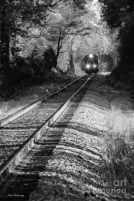Photograph - Csx Three Light Spotter Bw Locomotive Train Art by Reid Callaway