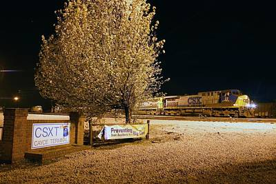 Photograph - Csx Train @ Night -- Cayce Yard 10 by Joseph C Hinson Photography