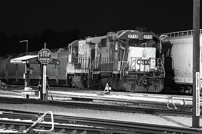 Photograph - Csx Train At Night by Joseph C Hinson Photography