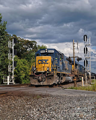 Csx Train Headed West Art Print by Pamela Baker