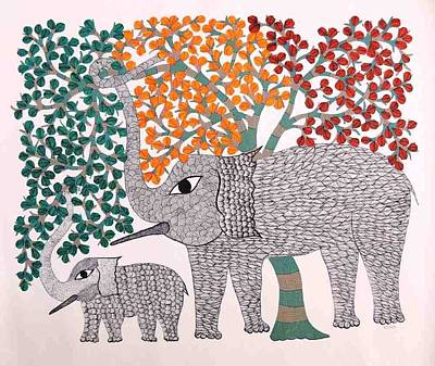 Gond Art Painting - Ct 11 by Chhoti Tekam