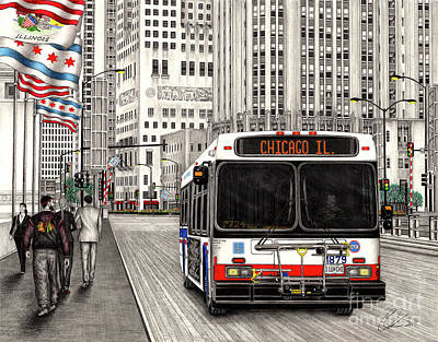 Drawing - Cta Bus On Michigan Avenue by Omoro Rahim