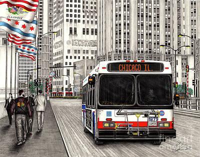 Cta Bus On Michigan Avenue Art Print