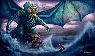 Painting - Cthulhu by Anthony Christou