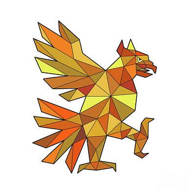 Cuauhtli Glifo Eagle Fighting Stance Low Polygon Art Print