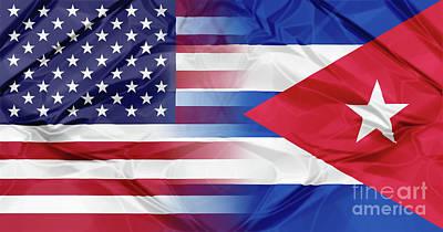 Cuba And Usa Flags Art Print