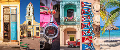 Photograph - Cuba Collage by Delphimages Photo Creations
