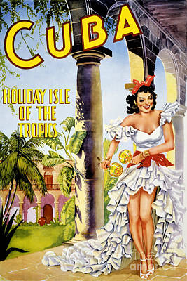 Cuba Holiday Isle Of The Tropics Vintage Poster Art Print by Carsten Reisinger