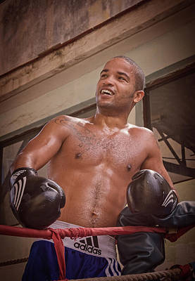Art Print featuring the photograph Cuban Boxer Ready For Sparring by Joan Carroll