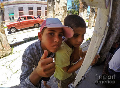 Photograph - Cuban Boys In Street by Charline Xia