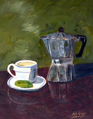 Cuban Coffee And Lime Green Art Print by Maria Soto Robbins