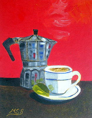 Espresso Painting - Cuban Coffee And Lime Red    Left by Maria Soto Robbins
