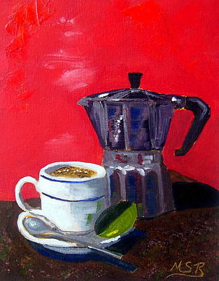 Cuban Coffee And Lime Red Print by Maria Soto Robbins