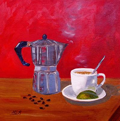 Painting - Cuban Coffee Beans And Lime by Maria Soto Robbins