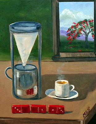 Cuban Coffee Dominos And Royal Poinciana Art Print by Maria Soto Robbins