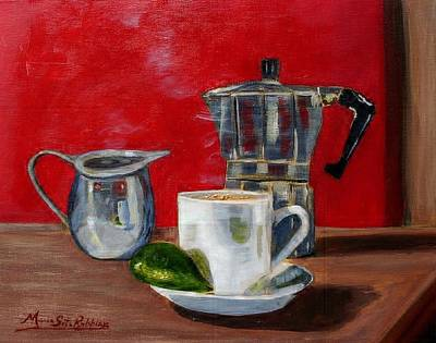 Cuban Coffee Lime And Creamer Art Print by Maria Soto Robbins